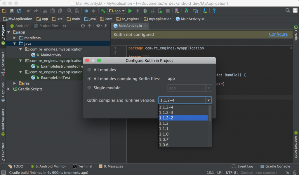 Kotlin build.gradle configure